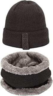 LAOWWO Winter Beanie Hat Scarf Set Warm Knit Hat Thick Warm Velour Lined Winter Hat Scarf Men Women 2-Pieces