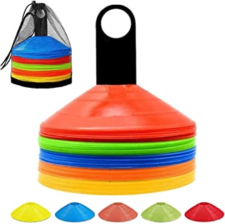 ANSLYQA Disc Cones (Set of 50) Agility Training Soccer Cones with Carry Bag and Holder for Football Basketball Sports Fiel...