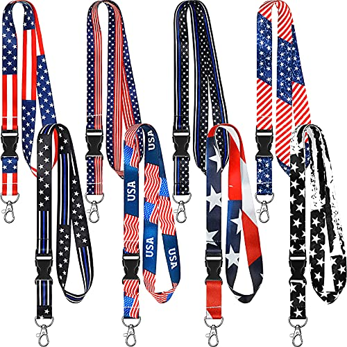 8 Pieces Key Lanyard ID Lanyards Neck Strap Key Chain Holder University Lanyard Wristlet Lanyard with Removable Buckle for Women Men (American Flag Style)