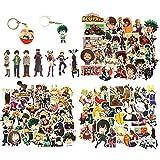 Laoji 100 pegatinas de My Hero Academia y 2 llaveros My Hero Academia, pegatinas de anime para botella de agua, PC, PS4, Xbox, portátil, PC, equipaje (My Hero Academia)