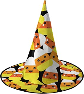 Yunshm Halloween Seamless Pattern with Cartoon Candy Corn Halloween Headbands Witch Hat Headband for Halloween Party Masquerade Cosplay Costume Accessory Customized