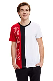 DeFacto Short Sleeves Ribbed Round Neck Color-Block Cotton T-Shirt for Men