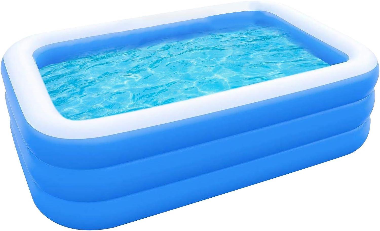 piscina infantil para patio rectangular jard/ín SANGSHI Piscina hinchable para adultos y ni/ños piscina familiar hinchable para ni/ños