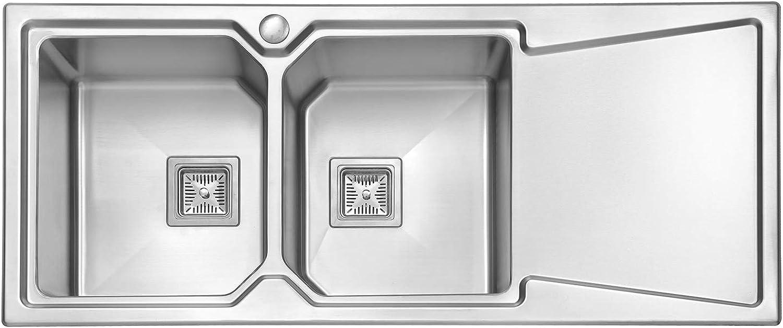 JASS Ferry Premium 1,2mm Strke Edelstahl Küche Spüle doppelte 2.0Schüssel viereckig Abtropfschale rechts 1160x 500mm 10Jahre Garantie