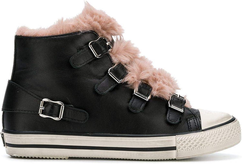 Ash Women's VALKOBLACKASHpink Black Leather Hi Top Sneakers