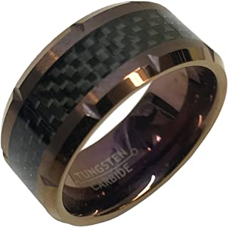 10mm for Him or Her Tungsten Carbide Louis XIII Cognac IP Beveled Edge with cuts & Black Carbon Fiber Inlay Wedding Band Ring