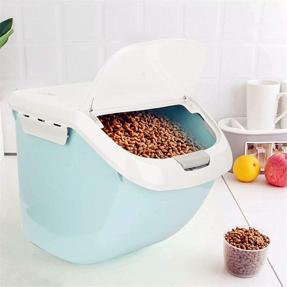 Cat Dog Sales results No. 1 Food Storage Limited time cheap sale Bin - Large Sto Capacity Blue Moistureproof