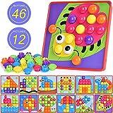 Ulikey Mosaik Steckspiel für Kinder, Steckmosaik mit 46 Steckperlen und 12 Bunten Steckplätte,...