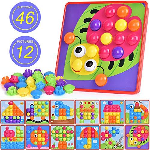 Ulikey Mosaik Steckspiel für Kinder, Steckmosaik mit 46 Steckperlen und 12 Bunten Steckplätte, Bunte Steckspielzeug Kinderspielzeug als Geschenke
