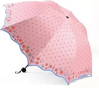 LINrxl Ultralight Sun Protection UV Umbrella, Ladies Folding Easy to Carry Windproof Umbrella (Color : Pink)
