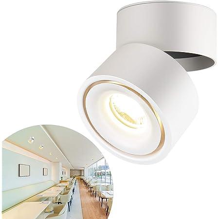 CPROSP Spot en Saillie Orientable 10W LED Spots de Plafond Plafonnier Aangle Réglable Applique de Plafond Lampe COB, Rotative à 360 ° (Blanc Naturel 4000k), Blanc
