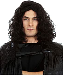 Snow King Halloween Wig – Long Black Culy Mens Wigs. Tie Back into Ponytail. Anime Cosplay Wigs for Men