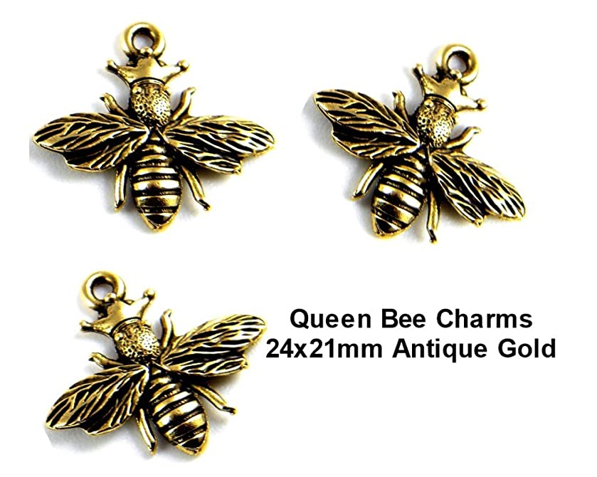 PlanetZia 5pcs 24x21mm Queen Bee Charms For Jewelry Making TVT-3612-1 (Antique Gold)