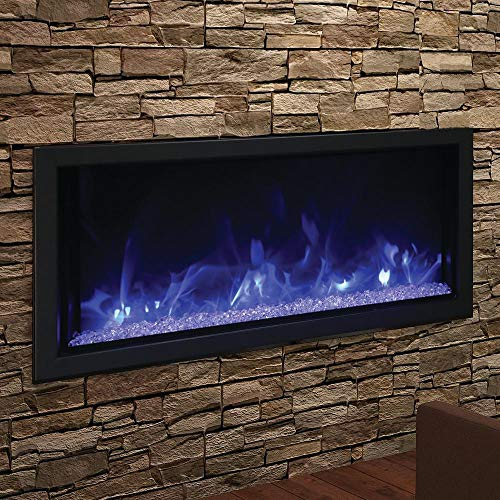 Amantii Artisan Series Built-in Electric Fireplace, Tuscan Cream Natural Concrete Surround