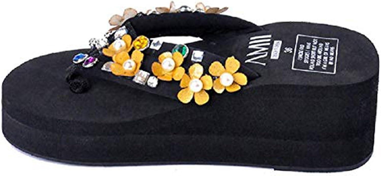 Women's Fashion Wedge Bohemia Flower and Beads Flip-Flops Slip on Comfy Dress Summer Beach Thongs Sandals
