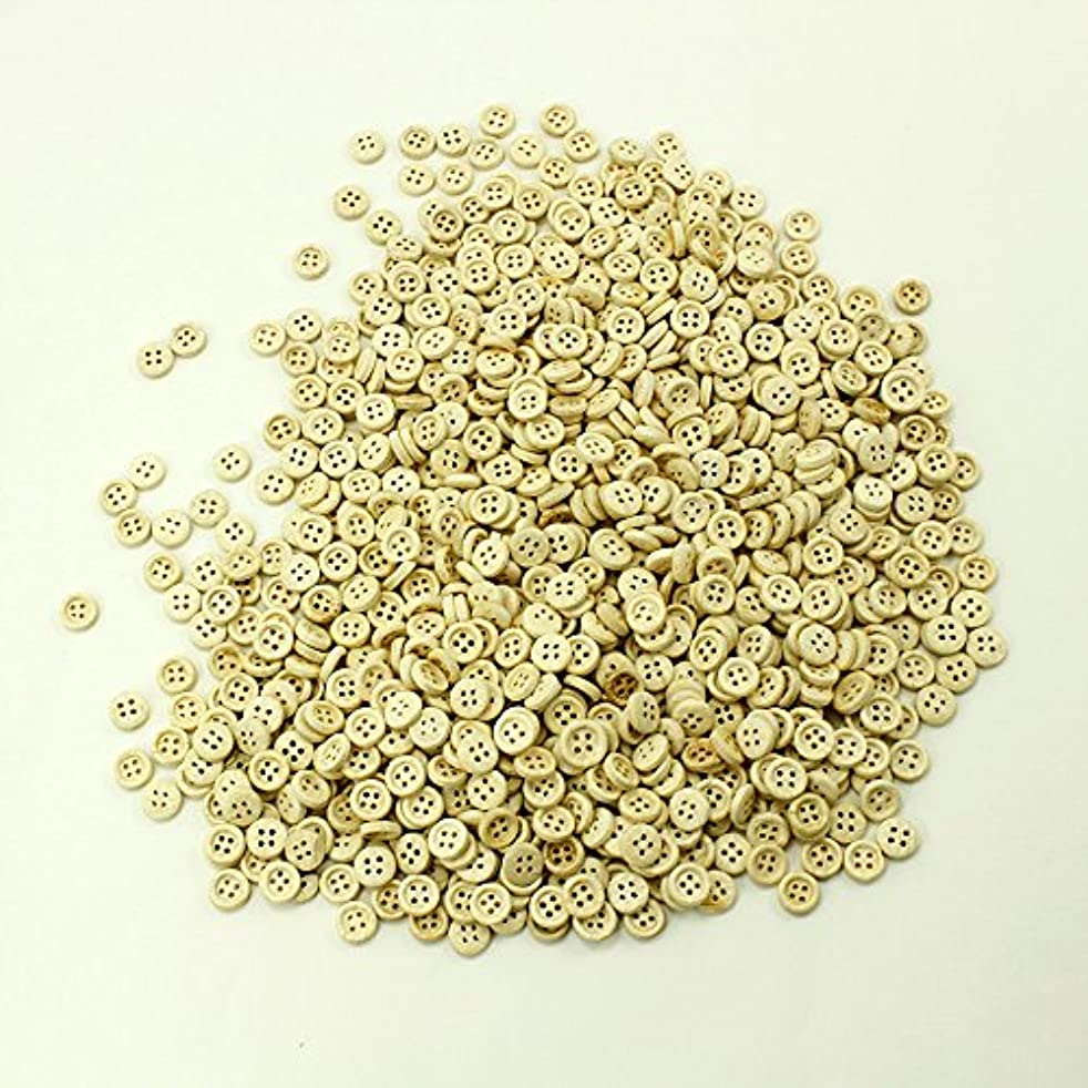 PEPPERLONELY Brand 100PC Natural Color 4 Holes Scrapbooking Sewing Wood Buttons 10mm (3/8 Inch)