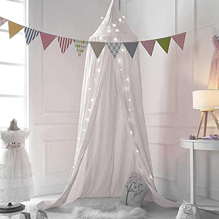 White M/&M Mymoon Girls Bed Canopy Reading Nook Tent Dome Mosquito Net Hanging Decoration Indoor Game House for Baby Kids