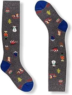 Gallo, Calcetines largos para niño de algodón, diseño de micro objetos navideños