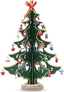 BestPysanky Wooden Tabletop Christmas Tree with 32 Miniature Christmas Ornaments 12.5 Inches