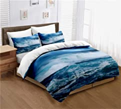 Ocean Duvet Cover Set Twin Size, Raging Seawater Nature Theme Print, A Decorative 2 Piece Bedding Set with Pillowcase Mode...