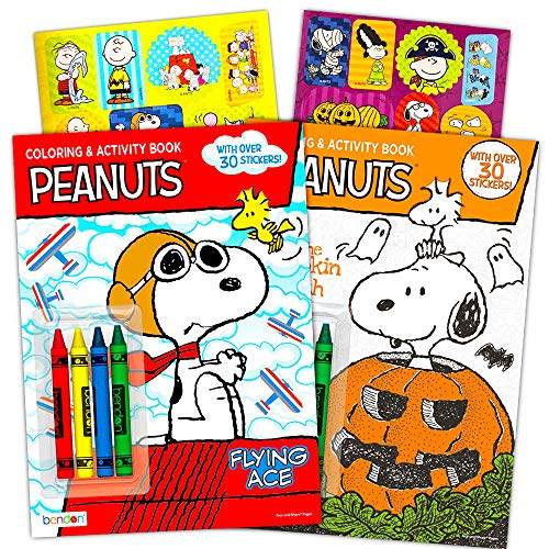 Peanuts Snoopy Coloring and Activity Book Set with Stickers -- 2 Coloring Books, Over 60 Peanuts Stickers and Crayons