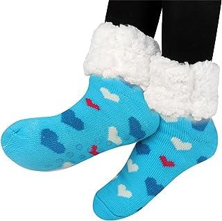 mujeres térmicas calcetines súper gruesas calcetines en casa forro polar sin deslizamiento calcetines