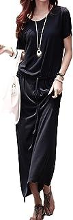 (ブルーホーク)マキシ ワンピース レディース セレブ 半袖 ロング シルエット リゾート カジュアル (ブラック)