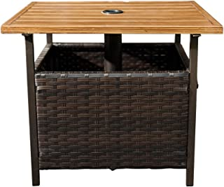 SunLife Patio Umbrella Base Stand, Outdoor Side Table with Umbrella 1.5 inches Hole PE Resin Wicker