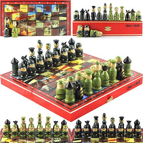 Great Patriotic War WW2 Themed Chess Set Russian Soviet vs Germany Toy Soldiers Handpainted Nesting Dolls Chess Pieces - Handmade Matryoshka Wood Decor Chess Set