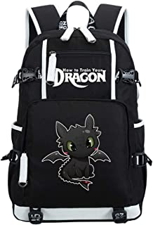 AUGYUESS - Mochila Escolar para portátil, diseño de dragón Negro Black 1 XL