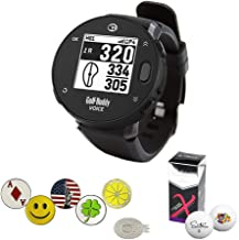 GolfBuddy Voice X GPS/Rangefinder Watch Bundle with 5 Ball Markers, 1 Magnetic Hat Clip, and Saintnine 2 Ball Sleeve