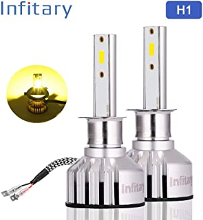 INFITARY H1 LED Headlight Bulbs All-in-One Conversion Kit Bright Yellow Fog Light High Low 7200LM 3000K Plug Play Car Motorcycle Replacement Mini LED Headlamp
