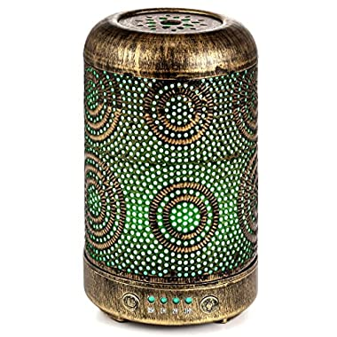 Arvidsson Essential Oil Diffuser, Aromatherapy Metal Diffusers for Essential Oils, 7 Color Light Vintage Diffuser Humidifier for Baby Home Office Yoga