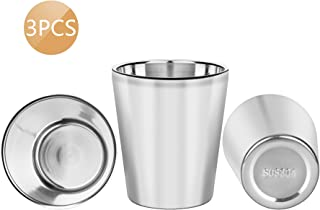 3PCS Stainless Steel Cups, Stainless Steel Tumbler - Double Wall - 10oz / 300ml, 304 Stainless Steel Drinking Glasses, Vacuum Insulated Drinking Cups for Kids and Adults (Sliver)