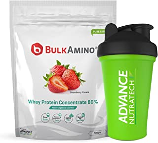 Advance Nutratech Bulkamino Whey Protein Concentrate 80% Raw Protein 500gm Strawberry Supplement Powder with Shaker