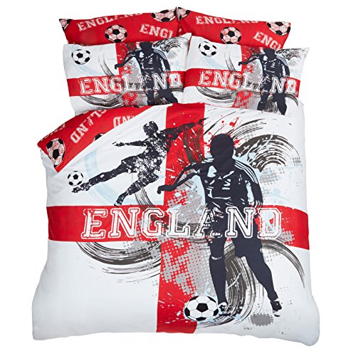 Dreamscene Engeland voetbal dekbedovertrek met kussensloop beddengoedset, rood wit vlag-double