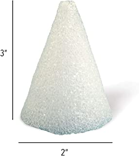 Hygloss Products Styrofoam Cones – 3 Inch White Cones for Floral Arrangements and Projects, 12 Pack