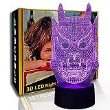 KangYD Lámpara de ilusión óptica 3D de máscara fantasma, luz nocturna de ambiente LED, A - Touch negra Base (7 colores), Lámpara de decoración, Luces de colores, Regalo para niño