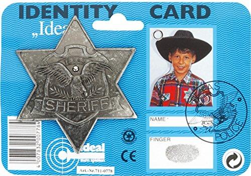 Bauer Spielwaren 130042 Ideal J.G.Schrödel Sheriff-Stern antik: für Cowboy-Kostüme, Fasching, auf Karte, grau (711 0778)