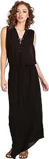 Indah Pamela Lace Up Maxi Dress Black