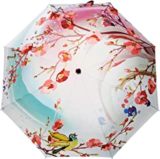 SHANGRUIYUAN-Umberllas Folding Umbrella 8 Bones Water Repellent Lightweight Tanning Folding Umbrella Floral Pattern Sunny Weather Umbrella with Umbrella Cover (Color : Pink, Size : One Size)