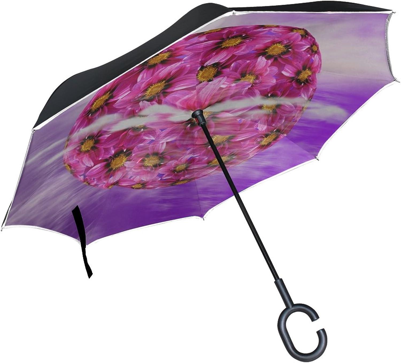 Double Layer Ingreened Dahlia Dahlia Dahlia Blossom Bloom Flower Nature Umbrellas Reverse Folding Umbrella Windproof Uv Predection Big Straight Umbrella for Car Rain Outdoor with CShaped Handle
