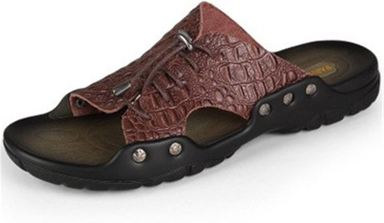 BININBOX Men's Slippers Flat Sandal Summer Breathable shoes Open-Toe Metal