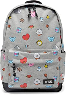BT21 Official Merchandise by Line Friends - Jersey Pattern Backpack, Grey