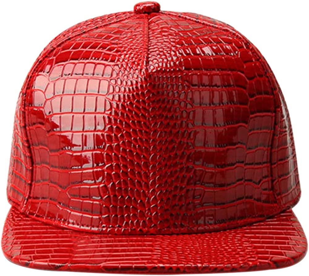 XRDSS Men Women PU Leather Hip-Hop Flat Bill Snapback Hat Crocodile Baseball Caps