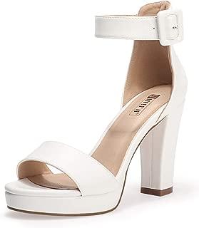 IDIFU Women's IN4 Sabrina Ankle Strap High Chunky Heels Platform Dress Heeled Sandal (White Pu, 8.5)
