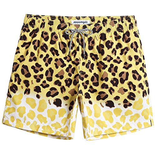 "MaaMgic 7"" Swim Shorts Mens Quick Dry Swim Trunks with Mesh Lining Teen Funny Print Swimwear Swimsuit Leopard"