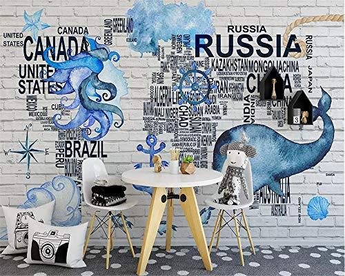 DZBHSCL 4D Behang muurschilderingen, minimalistisch alfabet kaart zee dier Brick Wall kunstdruk grootte fotobehang voor thuis woonkamer bank Tv achtergrond veranda slaapkamer wanddecoratie poster 80in×120in 200cm(H)×300cm(W)