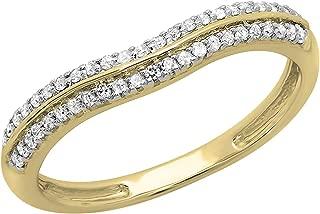 Dazzlingrock Collection 0.20 Carat (ctw) 14K Round White Diamond Ladies Double Row Curved Wedding Band 1/5 CT, White Gold