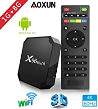 Aoxun 2018 Android TV Box - Smart TV Box Quad Core X96 Mini Android 7.1 OS Amlogic S905W 3D/4K/HD Media Player 1GB 8GB/WiFi 2.4G X96 Mini TV Box